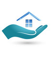 symbol of the house in hand vector image vector image
