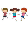 three kids holding hands vector image vector image