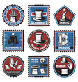 vintage colored magic stickers set vector image