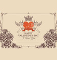 vintage valentine card with cupid heart and roses vector image vector image