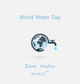 water drop and water tap with human hand iconblue vector image
