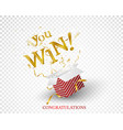 win text explosion on red box and gold confetti vector image vector image