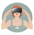 woman wearing virtual reality glasses-02 vector image