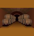 wooden barrels in the wine cellar vector image