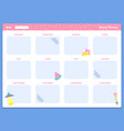 yearly planner template organizer year calendar vector image vector image