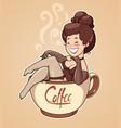 beautiful girl sit in coffee vector image