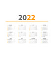 annual desk monthly calendar template for 2022 vector image