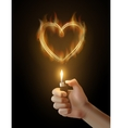 burning heart and the hand holding the vector image