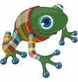 cartoon blue eyed funny frog with bright nails vector image vector image