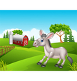 Cartoon funny donkey in the farm vector image vector image