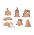 cartoon set sacks with flour or bags with rice vector image