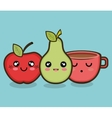 character apple pear and cup graphic vector image