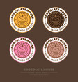 chocolate house logo cafe label vector image vector image