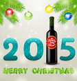 Christmas background with bottle of wine and balls vector image