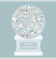 cute polar bear sticker set snow globe design vector image vector image