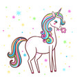 cute unicorn stands on a white background with vector image vector image