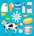 dairy milk products natural food calcium vector image