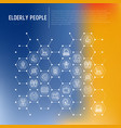 elderly people concept in honeycombs vector image