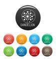 faded dandelion logo icons set color vector image vector image