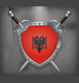 flag of albania the shield with national flag vector image vector image