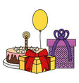 gifts boxes presents with sweet cake and balloon vector image vector image