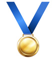 Gold medal with blue ribbon vector image vector image