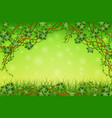 green background with tropical vines and grass vector image vector image