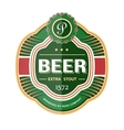 Green beer bottle label template vector image
