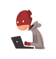 hacker in disguise working on laptop internet vector image vector image