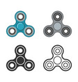 hand fidget spinner color and line icons vector image vector image