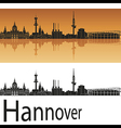 hannover skyline in orange background vector image vector image