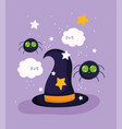 happy halloween witch hat spider clouds stars vector image vector image