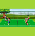 happy kids playing tennis at the courts vector image vector image