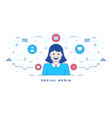 line flat banner design with happy woman and icons vector image