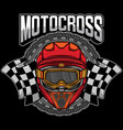 motocross helmet graphic logo vector image vector image