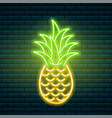 neon pineapple tropical sign summer plant vector image vector image