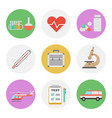 nine color flat icon set - medical vector image