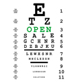 Optical eye test with open message vector image vector image