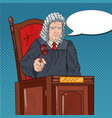 pop art judge in courthouse striking the gavel vector image vector image
