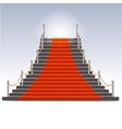 Realistic stone ladder with red carpet vector image vector image