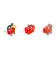 red shop cart icon set isometric style vector image