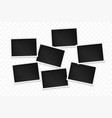 set horizontal photo frames on transparent vector image