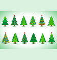 set of christmas tree isolated vector image vector image