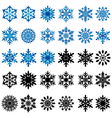 Set of thirty blue and black snowflakes vector image vector image
