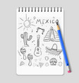 sketch mexican symbols set vector image