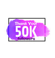 social media 50k followers success poster design vector image