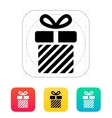 Striped gift box icons on white background vector image vector image