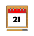 The Twenty-one days on the calendar vector image vector image