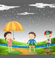 three kids in the rain vector image