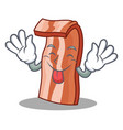 tongue out bacon mascot cartoon style vector image vector image